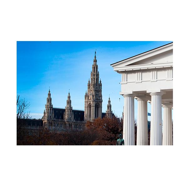 Blick auf Rathaus vom Volksgarten